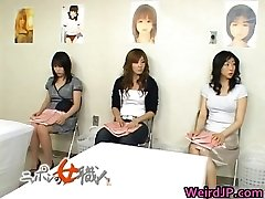 Asian wifey is examining female workers