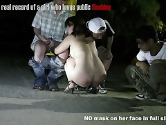 Japanese round girl public flashing slide show2