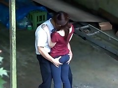 Horny, sensual and filthy Japanese couple making out and outdoor fucking
