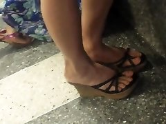 Candid Asian Shoeplay Legs Soles at Airport