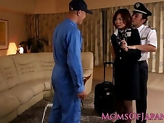 Asian milf flight attendant inserted in ass