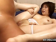 Asian tits babe sucking and fucking phat dick
