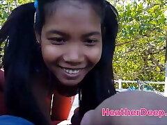Asian Thai teen rectal creampie out in boat in purple bikini