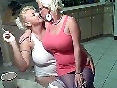 Smoking lesbians big bra-stuffers