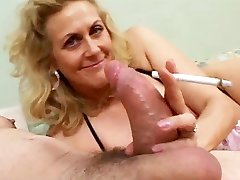 Smoking Mature Gives Sucky-sucky To A Yam-sized Cock