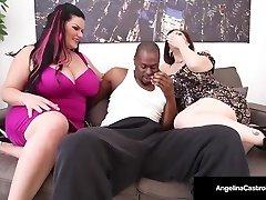 Cuban Plumper Angelina Castro & Sara Jay Suck A Big Dark-hued Stiffy!