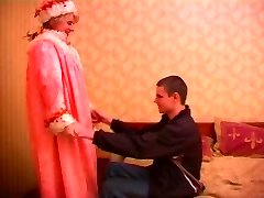Mature round russian doll in stockings & a young guy