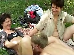 Kinky russian picnic with humungous b(.)(.)bs mature