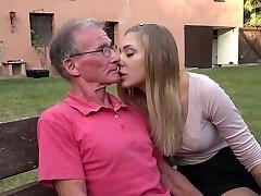 Big elder cock teaching teenie blonde anal fuck positions