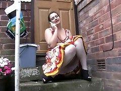 Voyeur 1 - Obese stunner sitting outdoor (MrNo)