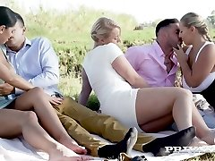 Russian sweetie Kira Queen swaps her BF with curvy nympho for swinger boink