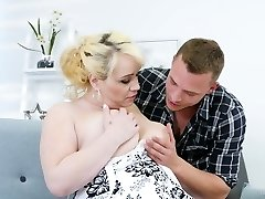 Youthfull dude fucks nextdoor round housewife Natalie while her husband is on a business trip