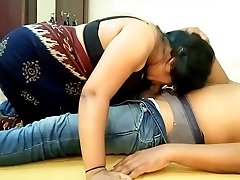 Indian Ample Knockers Saari Girl Blowjob and Eating BF Cum