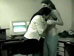 Two young Indian Lesbians have fun in the office