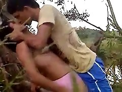 22 Lovers recording their stiff fuck in jungle