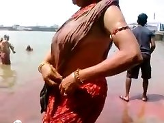 Good-sized Nipples Aunty Bath in River Hot Bum Side View of Fun Bags