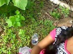College dame plumbing outdoor with her teacher