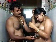 Indian Bhabhi In Bathroom
