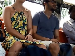 Cool European Couple in Sri Lankan Train with Legs spread