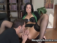 Rough fuck of chic milf India Summer in elegant black pantyhose and Kris Slater