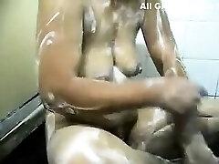 indian gujju bhabhi bathing under shower and displaying her