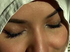 Beautiful Eyes White Hijab Arab Girl