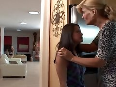 Voluptuous mature fucks adorable teen maid with stepdaughter