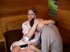 Old plump mom with saggy breasts & guy