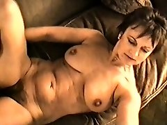 Yvonne's large mounds hard nipples and hairy pussy