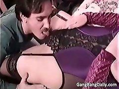 Pregnant mom sucks many hard cocks part5