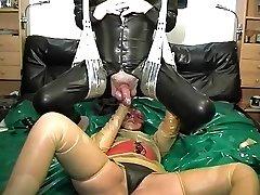 vintage rubber latex duo ass going knuckle deep cumshot