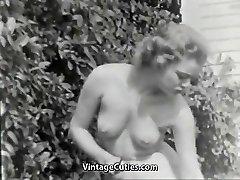 Nudist Girl Perceives Good Naked in Garden (1950s Antique)