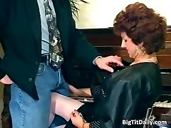 Horny MILF maid deep throats on her bosses part5