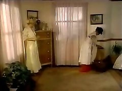 Lustful domme lures maid and makes her lick pussy