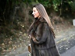 exhibitionist: naked under luxe fur coat & antique garterbelt