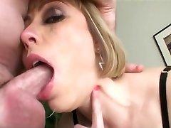 Busty blonde an sloppy throat face fuck gulp