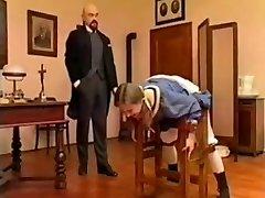 Bald schoolteacher spank young student