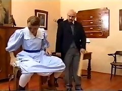 European vintage spanking episode with a teen brunette