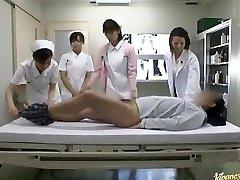 Horny Japanese nurses take turns railing patient