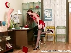 Brunette office assistant Sophia Smith takes customer service to next level on smartphone in retro underwear nylon heels
