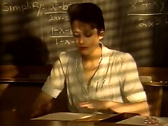 Short haired kinky brunette college teacher inhales strong cock for cum