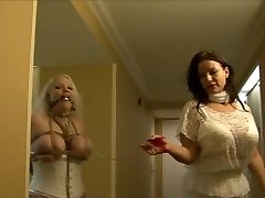 Full figured dame hogtied in white lingerie
