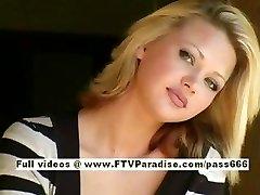 Svetlana cute blonde girl swallows cofee