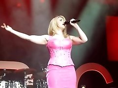 Beatrice Egli Pinkish Mini Dress Upskirt Gash On Stage Oops