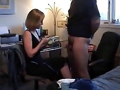 A ball draining CFNM HJ by platinum-blonde wife