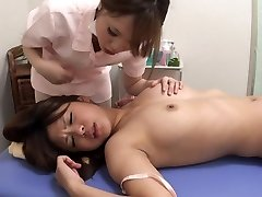 Asian girl-on-girl orgasm massage