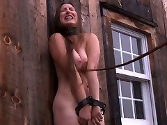 Village modest chick gets trussed up in the deserted shed