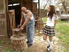 Schoolgirl Daniella Rush gets a stiff salami to fuck on the farm