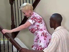 Blonde Granny Invites Black Father For Creampie.