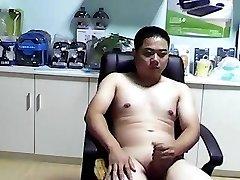 chinese bear man jerkoff cumshot